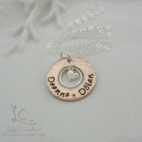 Copper Personalized Jewelry, Copper Washer Necklace, Hand Stamped Mother's Jewelry, Personalized Mommy Necklace