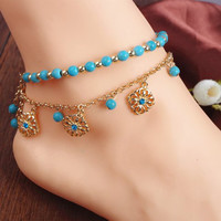 Rhinestone Design Beads Double-Layered Floral Anklets