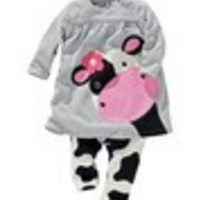 retail  girls baby clothes Little Cow modeling clothes 100% cotton casual long-sleeved T-shirt+Pants suit Tracksuit ATZ039 - Default
