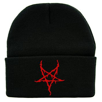 Red Black Metal Style Inverted Pentagram Cuff Beanie Knit Cap Unholy Evil Occult Alternative Clothing
