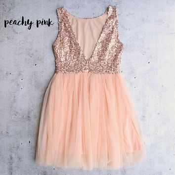 Sugar Plum Dazzling Sequin Darling Party Dress in Rose Pink/Peachy Pink