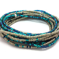 Seed bead wrap stretch bracelets, stacking, beaded, boho anklet, bohemian, stretchy stackable multi strand, metallic silver blue teal