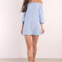 Abby Striped Off Shoulder Dress
