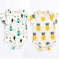 Summer Newborn Romper  Kids Baby Girl Boy Clothes short sleeve pineapple tent Romper Jumpsuit Outfits 0-24M