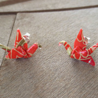 Origami Studs, Crane Studs, Red Studs, Red Posts, Cute Studs, Cute Post, Tiny Studs, asian earring, Origami Earring, Origami Jewelry