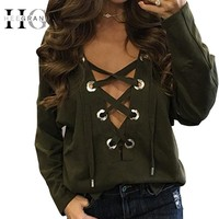 HEE GRAND Brandage V-neck Tops Tee 2017 Women Tie Lace Up Tops Sexy Hollow Out Casual T-shirt Long Sleeve Jumper  WTL1314