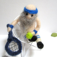 Tennis gnome, naked gnome, naughty MATURE toy, old bald guy with racquet, needle felted, humor office present, gag gift, funny  guy