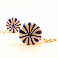 Blue & White Swirl Candy Earrings Made with Vintage Plastic