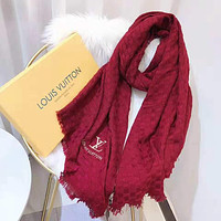 Onewel LV Louis Vuitton Autumn Winter Popular Women Men Embroidery Cashmere Cape Scarf Scarves Shawl Accessories Red