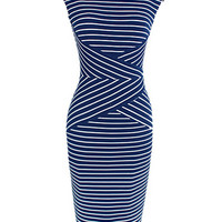 Blue Stripe Sleeveless Bodycon Midi Dress