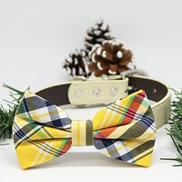 Plaid dog Yellow Blue bow tie Collar, Wedding lovers, dog birthday gift, Pet accessory
