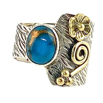 Blue Copper Turquoise Sterling Silver Floral Asymmetrical Ring