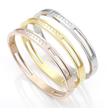 CZ Zircon 316L Titanium Stainless Steel Love Cuff Bangle Gold Color Crystal Brand Lover Charm Bracelets & Bangles For Women Men