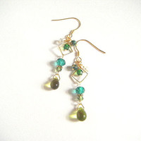 Green beads and square hoop earrings, green dangle earrings, beaded earrings, stylish earrings, boho earrings, gift for her, green jewelry.