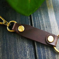Free Engraving , Personalized Leather Key Holder , Custom Key Chain , Slim Key Chain , Key Holder with Initials , Mens Key Chain , Dads gift