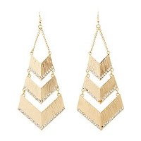 EMBELLISHED CHEVRON DROP EARRINGS