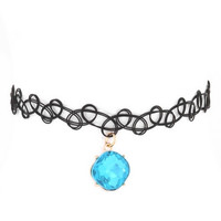 Blue Gemstone Black Choker Necklace