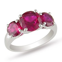 4 2/5 Carat Created Ruby 3 Stone Ring in Sterling Silver