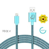 iPhone Charger, Cambond® 10ft Extra Long Durable Nylon Braided iPhone Cable, Apple MFI Certified Lightning Charging Cable Cord, Lightning to USB Cable 8 Pin for iPhone, iPad, iPod (Blue)
