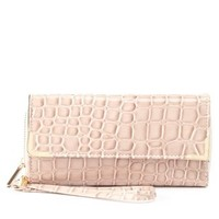 Pink Combo Gator Checkbook Wallet Wristlet by Charlotte Russe