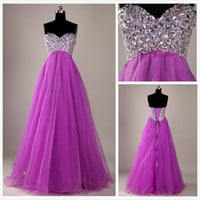 WowDresses — STUNNING A-LINE SWEETHEART SWEEP TRAIN PROM DRESS-PURPLE