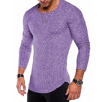 Men Solid Turtleneck Sweaters Fashion Knitted Pullovers