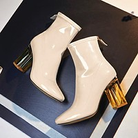 Clear High Heels Lucite Perspex Chunky Heel Ankle Boots