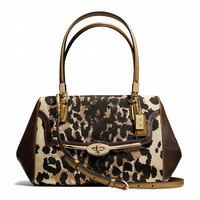 madison small madeline east/west satchel in ocelot print fabric