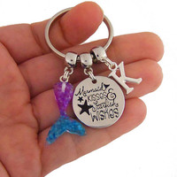 Mermaid kisses and starfish wishes keychain, mermaid key chain, mermaid tail key ring, personalized gift, personalized mermaid party favors