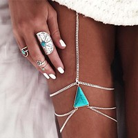 Women Fashion Beach Thigh Chain Triangle Turquoise Metal Leg Chain Body Chain Accessories