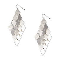 Polished and Brushed Silver Diamonds Waterfall Drop Earrings