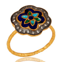 18K Yellow Gold Plated Sterling Silver CZ And Enamel Flower Cocktail Stack Ring