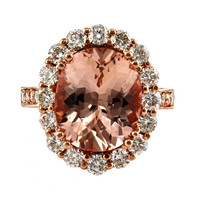 6.98tcw Oval Morganite & Diamonds in 14K Rose Gold Engagement Halo Ring