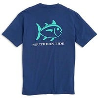 Beachside Outline Skipjack Tee Shirt in Seven Seas Blue by Southern Tide