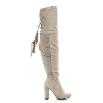 Hilltop28M Lt Taupe By Wild Diva, Pull-On Block Heel Over Knee Boot Lace Tie Fastening Drawstring