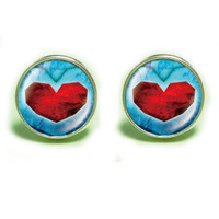 life Zelda heart container plated stud post earrings