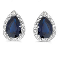 14K White Gold Pear Sapphire and Diamond Earrings (1 1/2ct tgw)