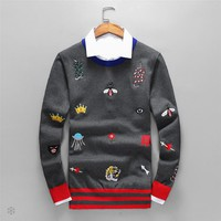 GUCCI 2018 autumn and winter new striped embroidery classic bee tiger head logo long sleeve sweater grey