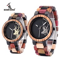 Men And Women Multicolored  Wooden Wristwatches