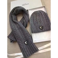 Alexander McQueen Fashion Beanies Knit Winter Hat Cap Scarf Scarves Set Two-Piece