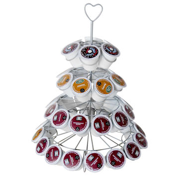 Evelots® Decorative Coffee Capsule Holder Display Tower,Holds 42 Capsules, Silver