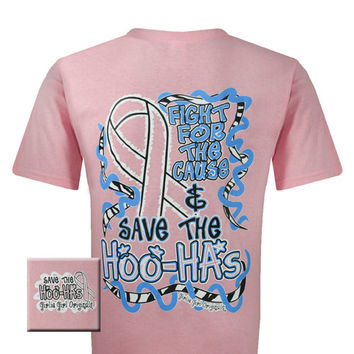 Girlie Girl Originals Save the Hoo Has Pink Ribbon Breast Cancer Bright T Shirt