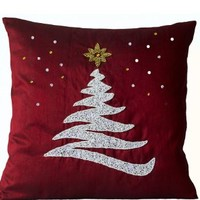Amore Beaute Handcrafted Red Decorative Throw Pillow Cover with Christmas Tree, Star and Snow Embroidered in Beads, Sequins and Crystals Rhinestones - Holiday Home Decor - Toss Pillow Covers in Red Art Silk Dupioni - Accent Pillows - Pillowcases - Gifts fo