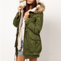 Army Olive Green Womens Thicken Fleece Jacket Winter Warm Coat Hooded Parka 3674