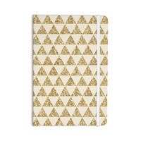 "Nika Martinez ""Glitter Triangles in Gold"" Tan Yellow Everything Notebook"