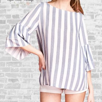 Tiered Bell Sleeve Top - Blue Stripe - S, M & L
