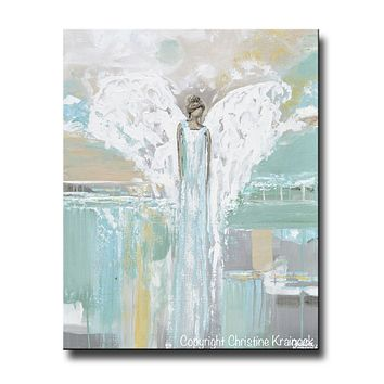 GICLEE PRINT Abstract Angel Painting Blue Green Grey White Angel Fine Art Home Decor Canvas Wall Art
