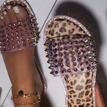 New ladies large size rivets and diamonds low heel sandals and slippers
