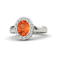 Oval Fire Opal 14K White Gold Ring with White Sapphire