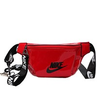 NIKE Fashion New Letter Hook Print Women Men Leisure Shoulder Bag Red